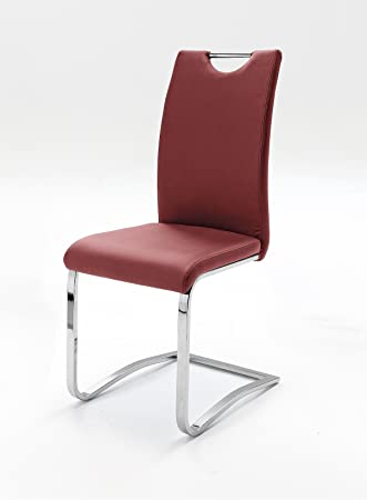 4 Stühle, Schwinger, Schwingstuhl, Schwinger, Freischwinger, Rot (bordeaux)