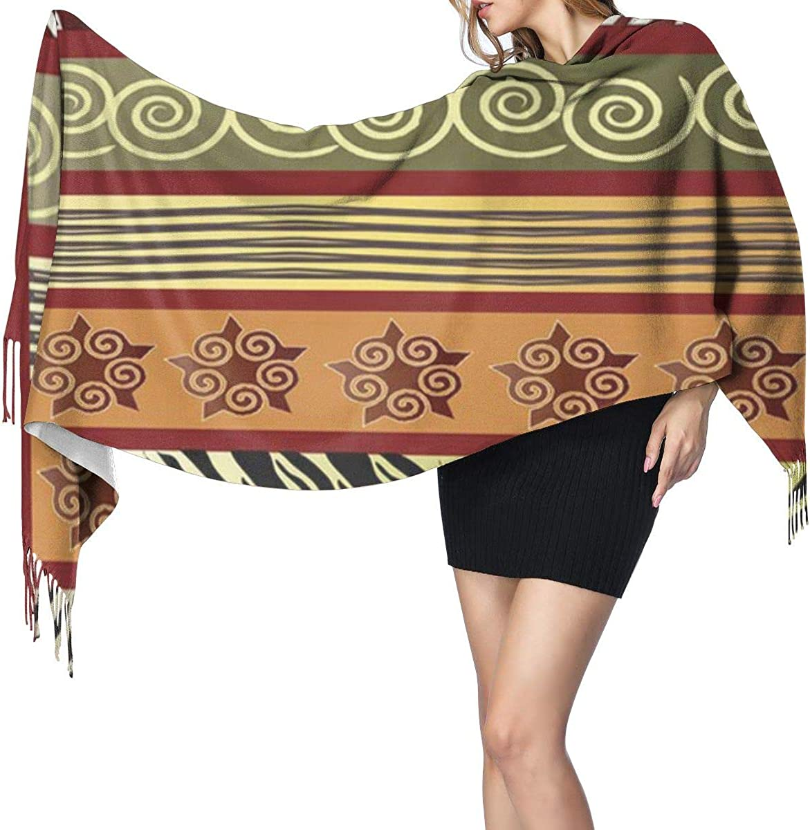 Fashion Lady Shawls,Comfortable Warm Winter Scarfs Soft Cashmere Scarf For Women Batik Green Ethnic Of African In Earth Tones Red