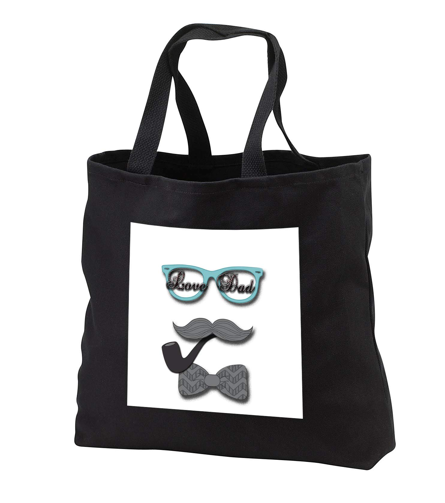 Spiritual Awakenings Cartoon Dads - Fun mustache and glasses with love dad in the lenses - Tote Bags - Black Tote Bag 14w x 14h x 3d (tb_294356_1)