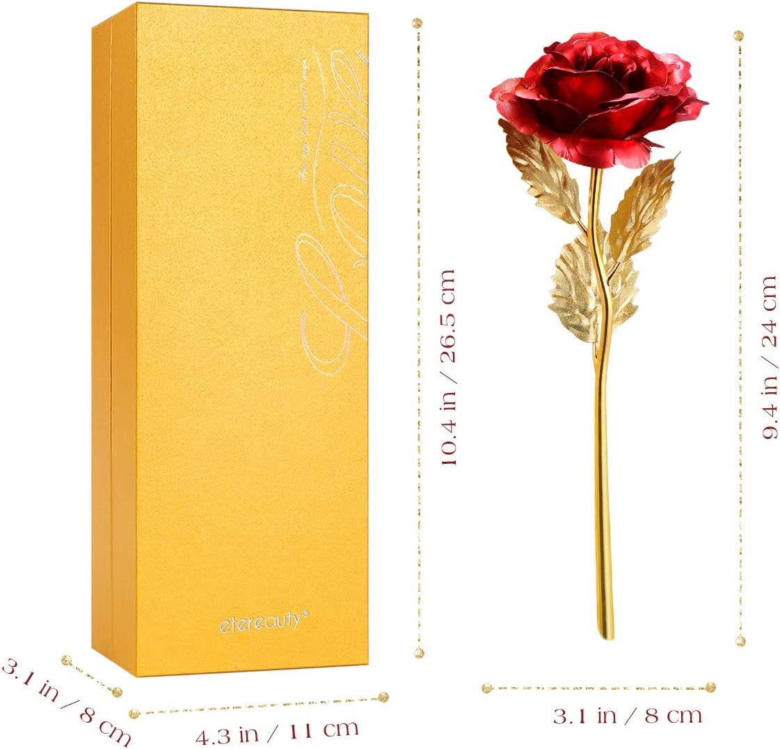 24k Gold Rose, ETEREAUTY Artificial Gold Rose with Elegant Gift Box and Card, Romantic Presents