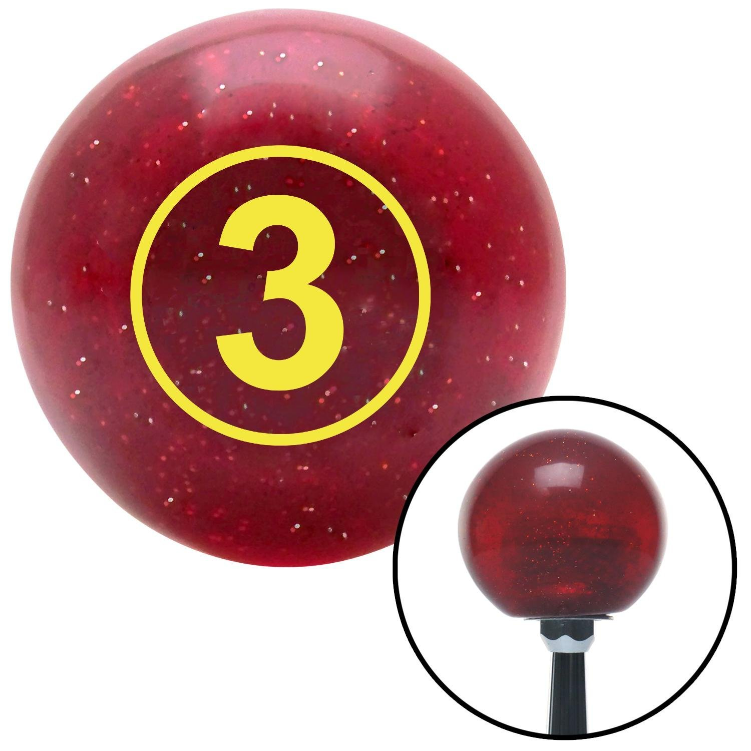 Yellow Ball #3 American Shifter 47479 Red Metal Flake Shift Knob with 16mm x 1.5 Insert