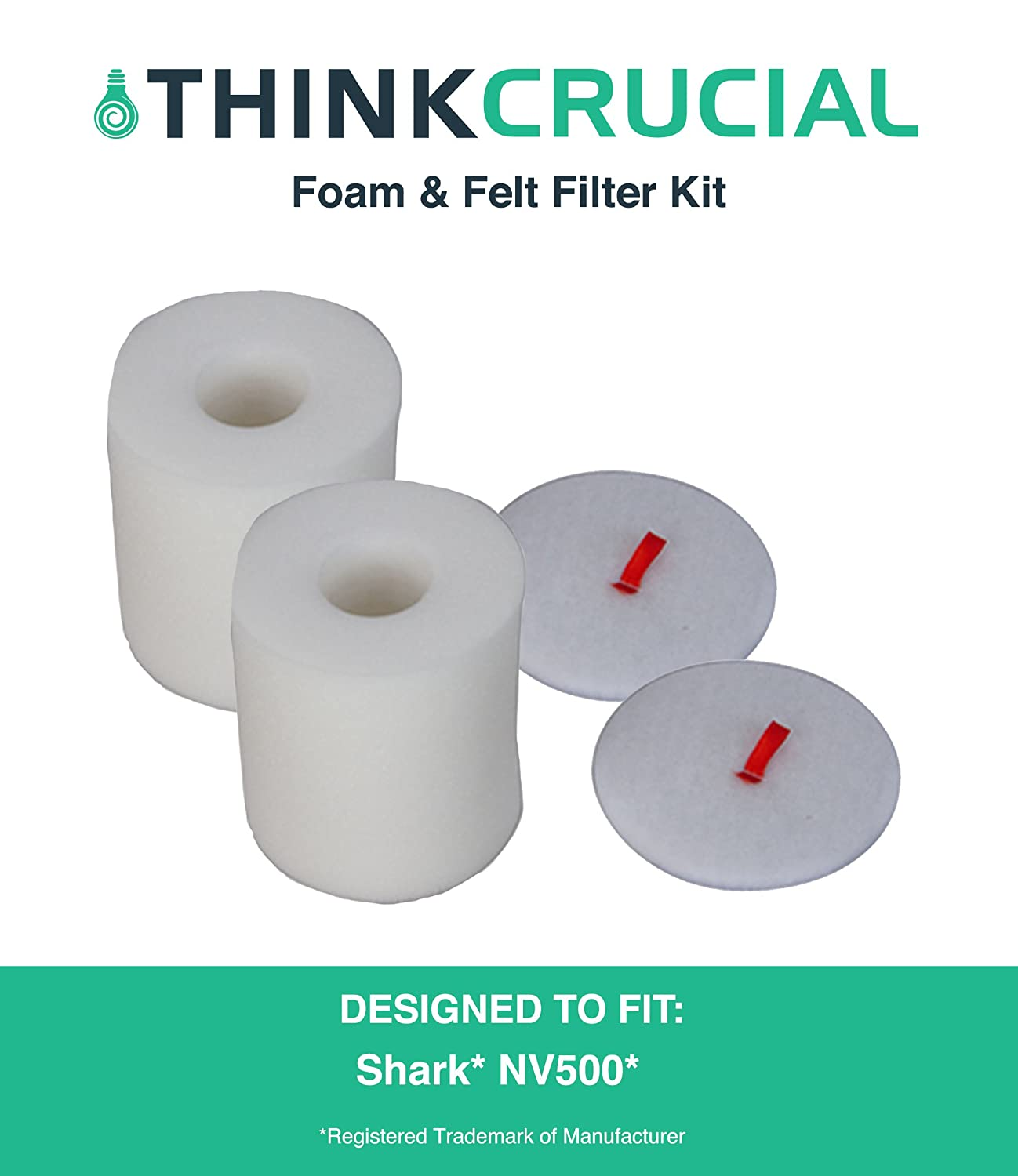 Replacement for Shark NV500 2 Foam & 2 Felt Filters Fit Rotator Pro NV500, Compatible With Part # XFF500, by Think Crucial