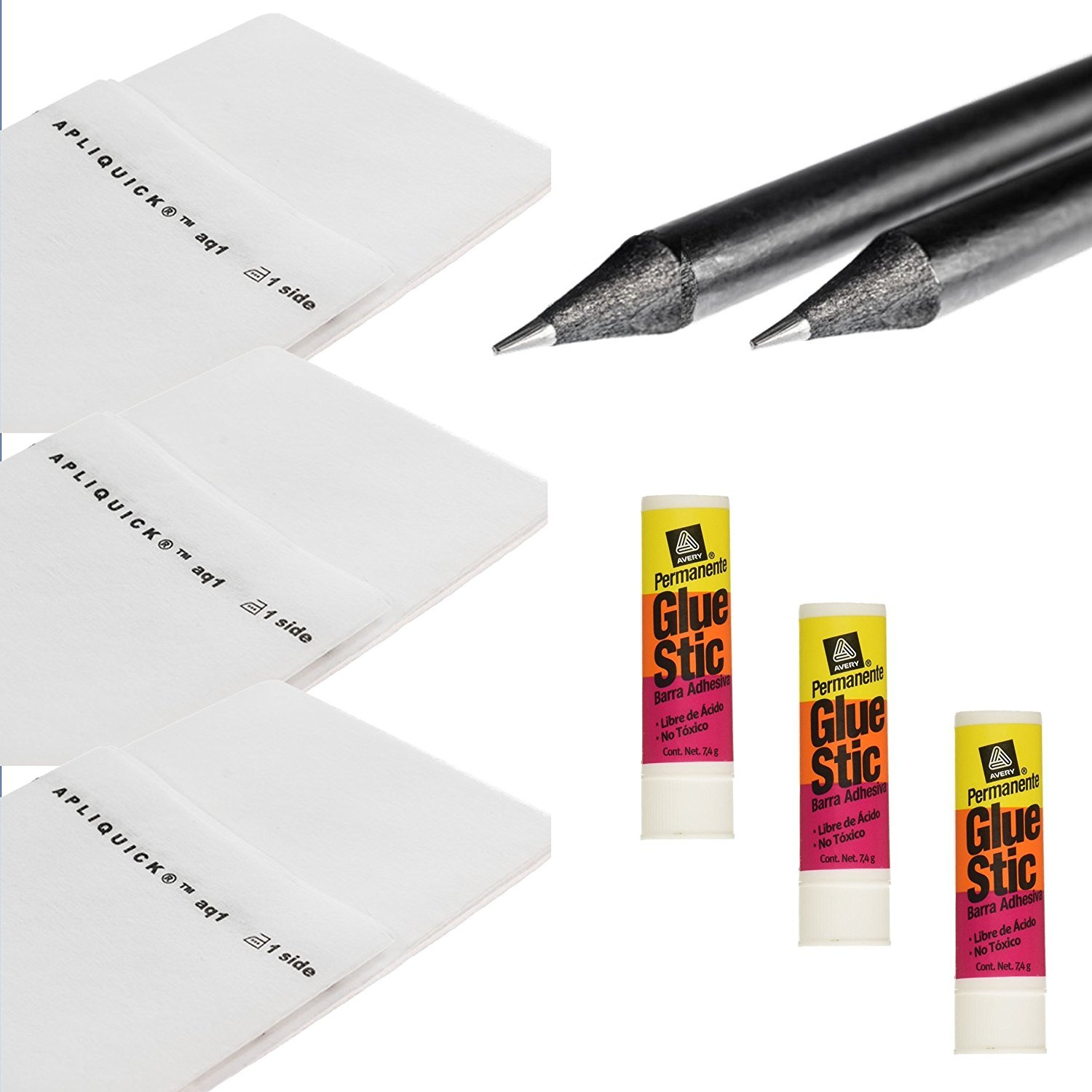 Apliquick Refill Kit - 5 Items: 3 Yards of Apliquick Fusible Stabilizer Bundled with 1 Set of Apliquick Pencils and 3 Avery Fabric Glue Sticks by Apliquick
