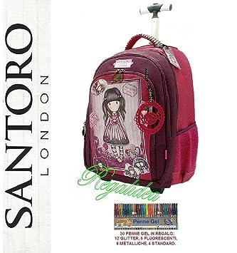 Carro mochila escolar Gorjuss Santoro London Fucsia Rosa 2017 y 2018 + incluye 30 bolígrafos Gel: Amazon.es: Deportes y aire libre