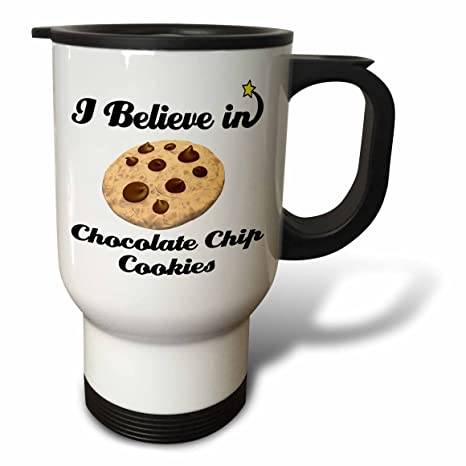 53309c6ed020 Image Unavailable. Image not available for. Color  3dRose tm 105030 1 I  Believe in Chocolate Chip Cookies Travel Mug ...