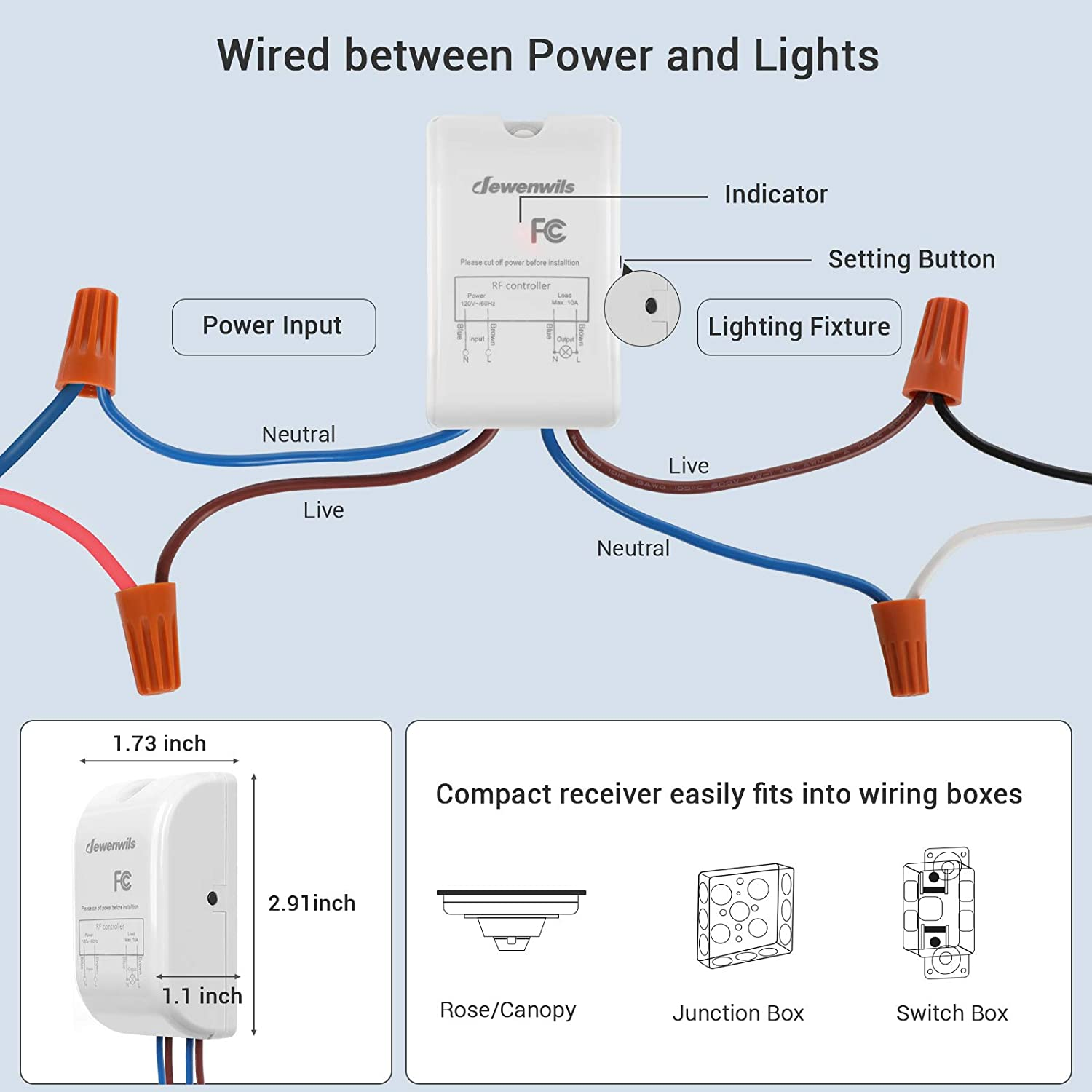 DEWENWILS Wireless Light Switch and Receiver Kit, Wall Switch Remote  Control Lighting Fixture for Ceiling Lights, Fans, Lamps, No in-Wall Wiring  Required, 100 Ft RF Range, Programmable: Amazon.com: Industrial & ScientificAmazon.com