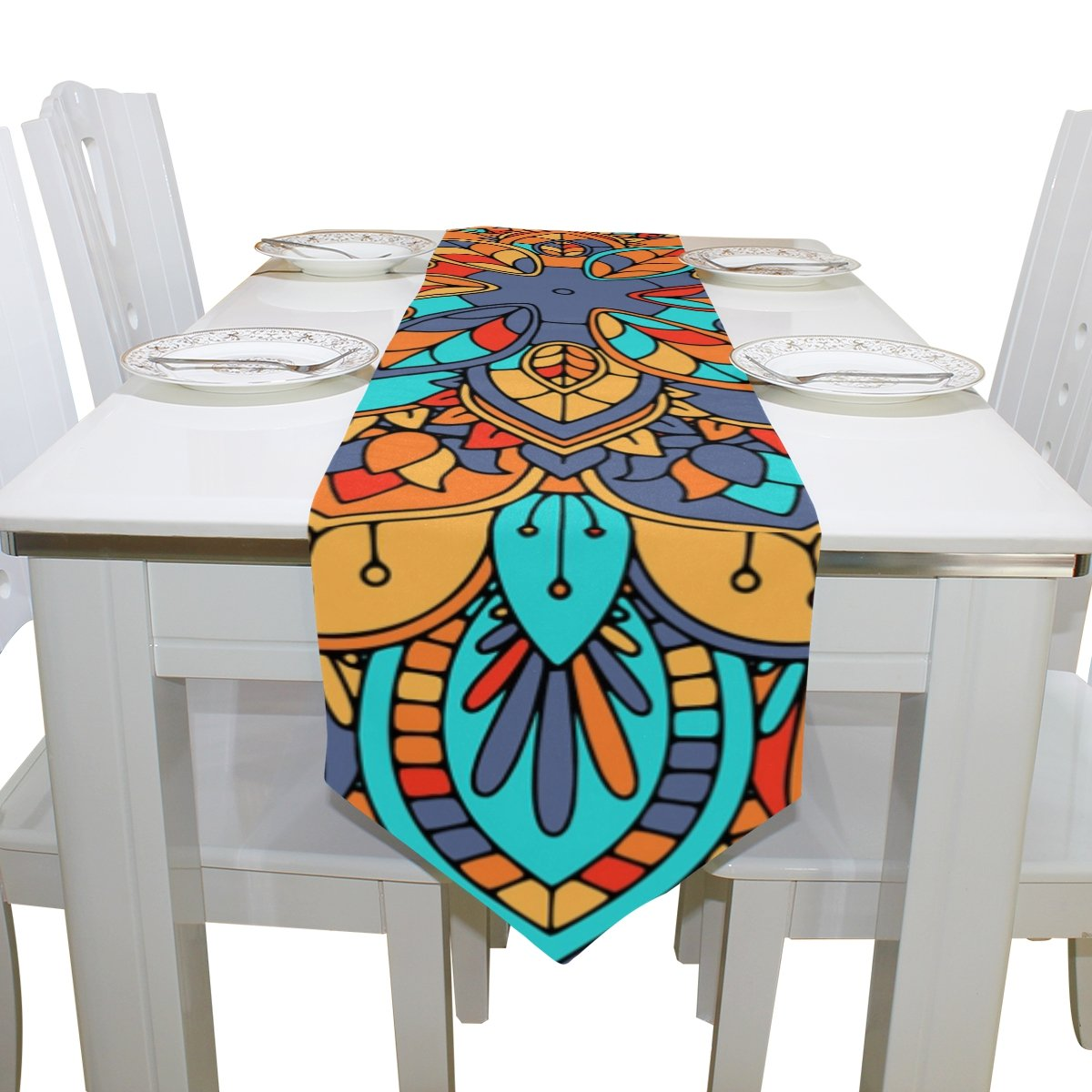 Blue Viper Abstract Mandala Design Table Runner Home Décor for Weddings, Dinners, Parties, or Summer BBQ Double-Sided Printing 13x70 Inches by Hokkien