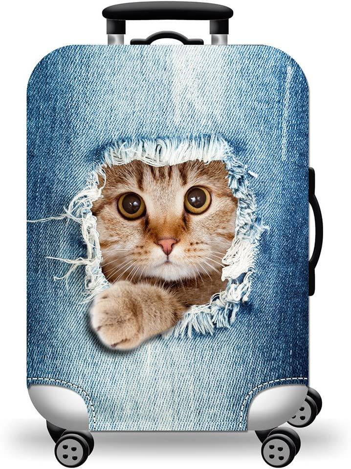 Liyao Colorful Thickened Luggage Cover Durable Cute Cat Pattern Luggage Protector for 18-31 inch Luggage