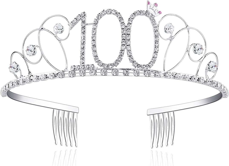 BABEYOND Tiara Cristal Cumpleaños Corona Cumpleaños Accesorios Princesa Feliz Cumpleaños 16/18/20/21/30/40/50/60/70/80/90/100