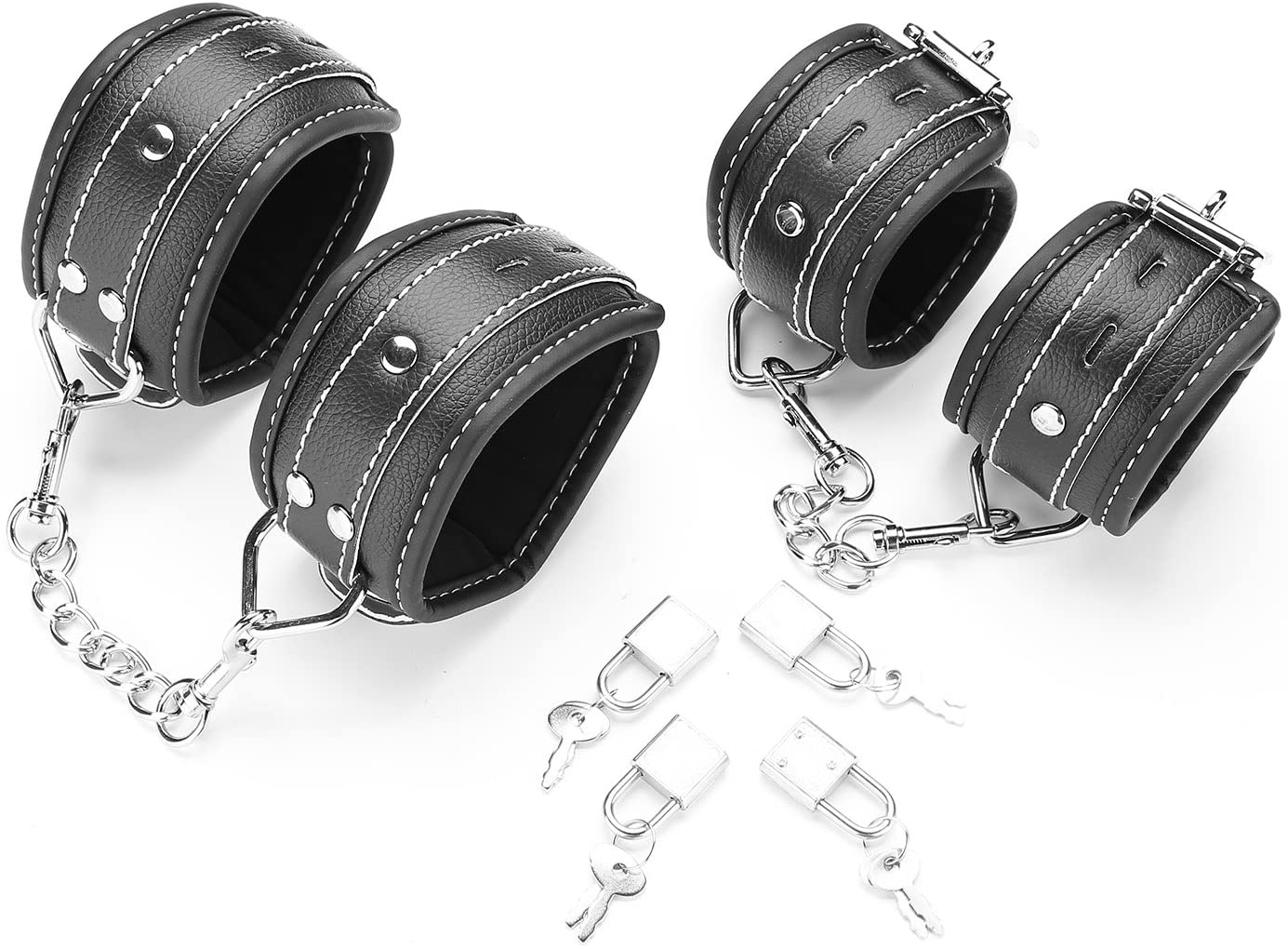 Black exreizst 4 Adjustable Ankle-Wrist Leather Cuffs Soft Straps Set with 2 Metal Chains