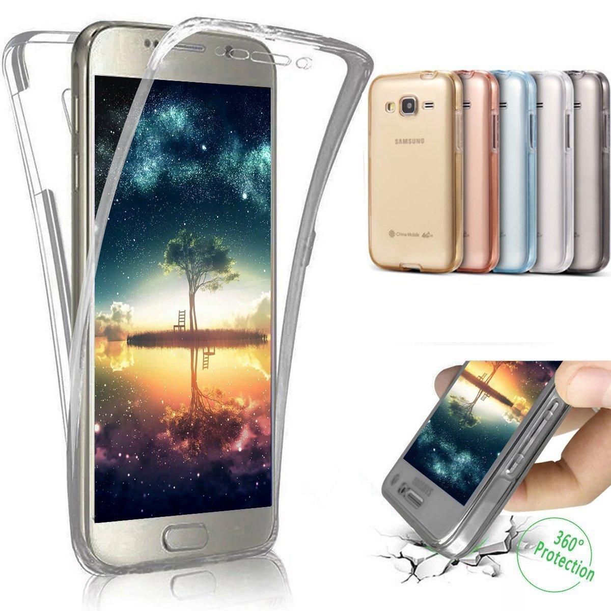 Galaxy J5funda, Samsung Galaxy J5funda, Ukayfe 360protectora ultrafina de cuerpo entero suave transparente de TPU silicona parachoques caso de goma de TPU para Samsung Galaxy J5SM-J500, Ukayfe0008931