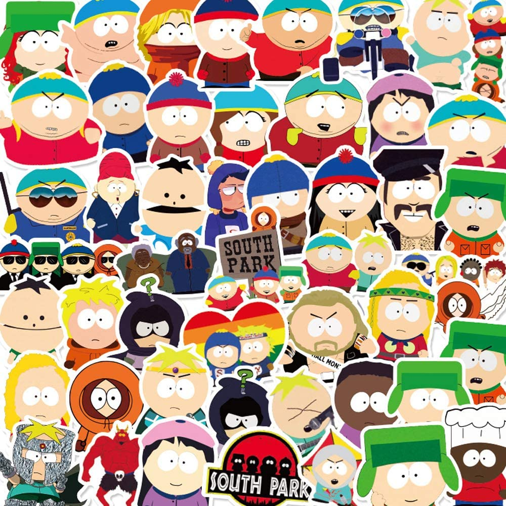 50PCS South Park Stickers for Water Bottle,Waterproof Vinyl Stickers for Laptop Computer Phone Skateboard Decal