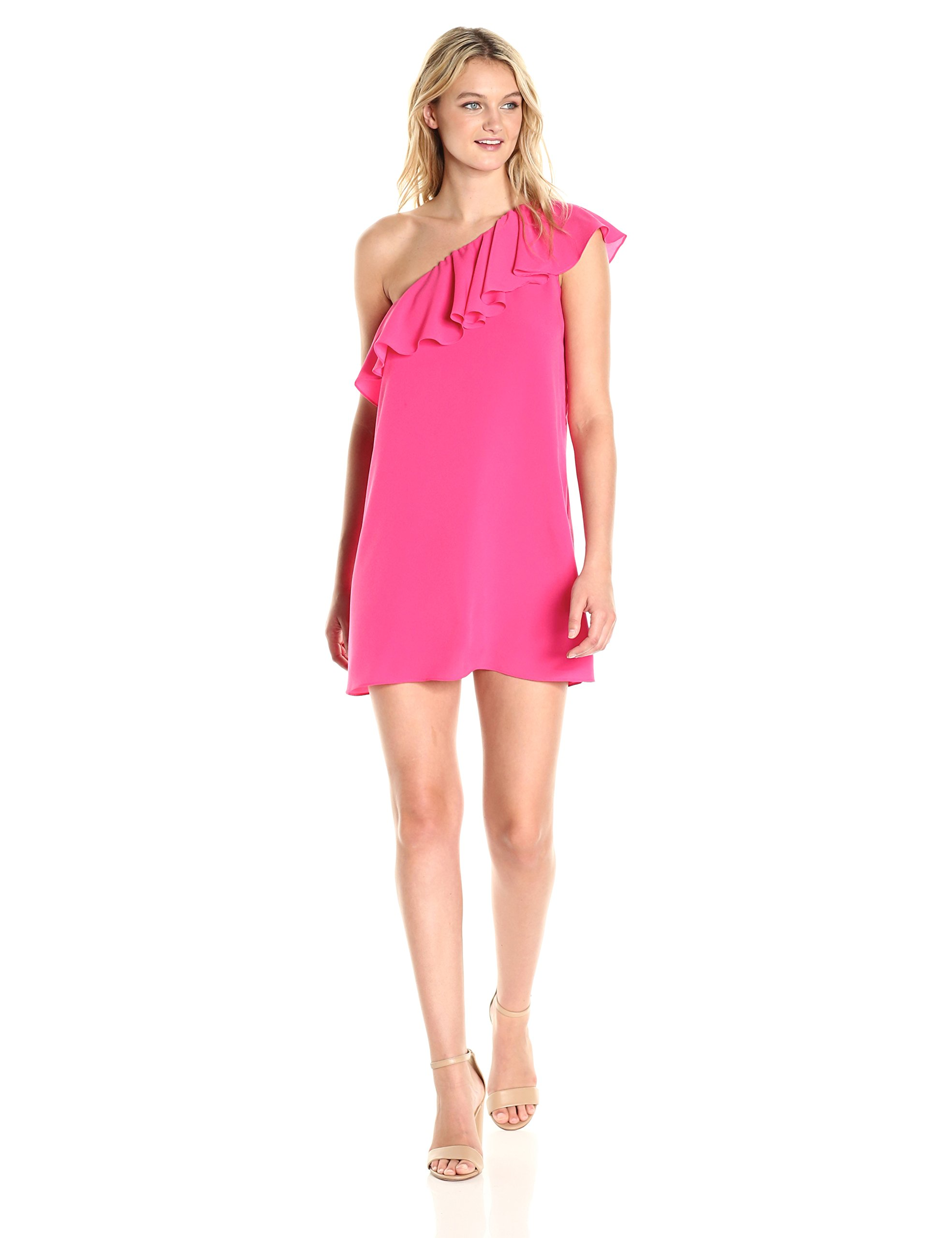 French Connection Women's Summer Crepe Light One Shoulder Dress, Hot Primrose, XS