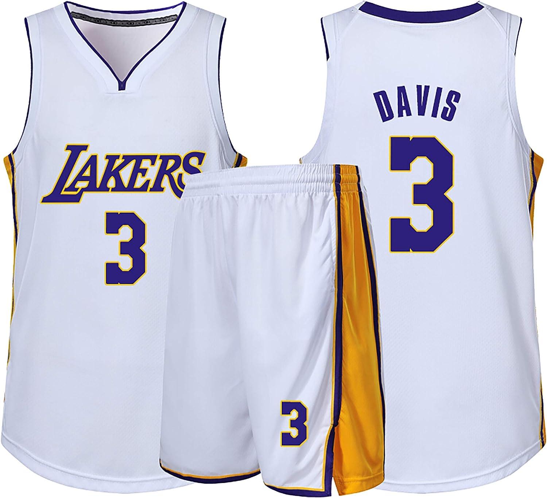 Ropa de Baloncesto para niños, Camiseta de fanático de los Lakers No. 3 Anthony Davis, Traje de Ropa Deportiva para Juegos de Baloncesto para Hombres y Mujeres,Camiseta Corta de Manga Corta-White-S: Amazon.es: