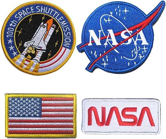 WZT 4 parches de bandera táctica para planchar o coser – Combinación USA NASA parche bordado Moral Lot Militar bordado parches: Amazon.es: Hogar