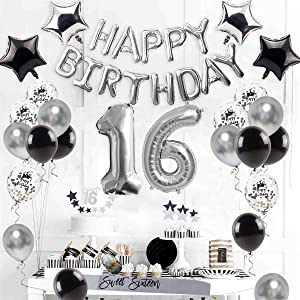 16th Birthday Decorations Supplies Silver – Sweet Silver 16 Birthday Party, Number 16 Balloon, Happy Birthday Banner, Cake Topper, Latex/Confetti Balloon, Star Balloon, Sash for BOY/Girl 16 Years Old
