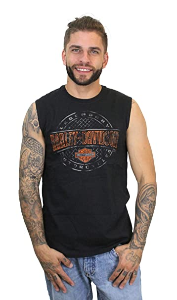 16a1693e Harley-Davidson Mens Plate Round B&S Black Sleeveless Muscle T-Shirt  (Medium)