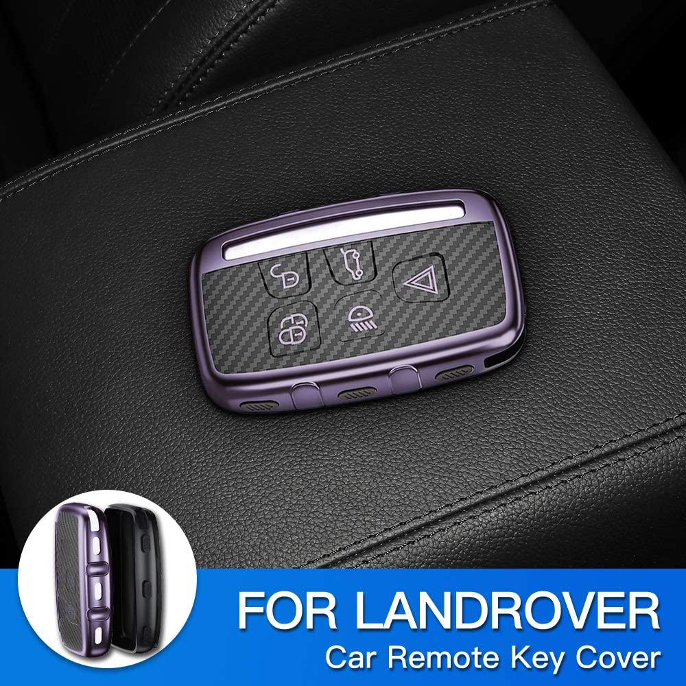 AIRSPEED TPU Key Case Cover Car Remote Fob Cover for Land Rover Range Rover Sport Evoque Freelander Discovery Jaguar XE XJ XJL XF C-X16(Purple)