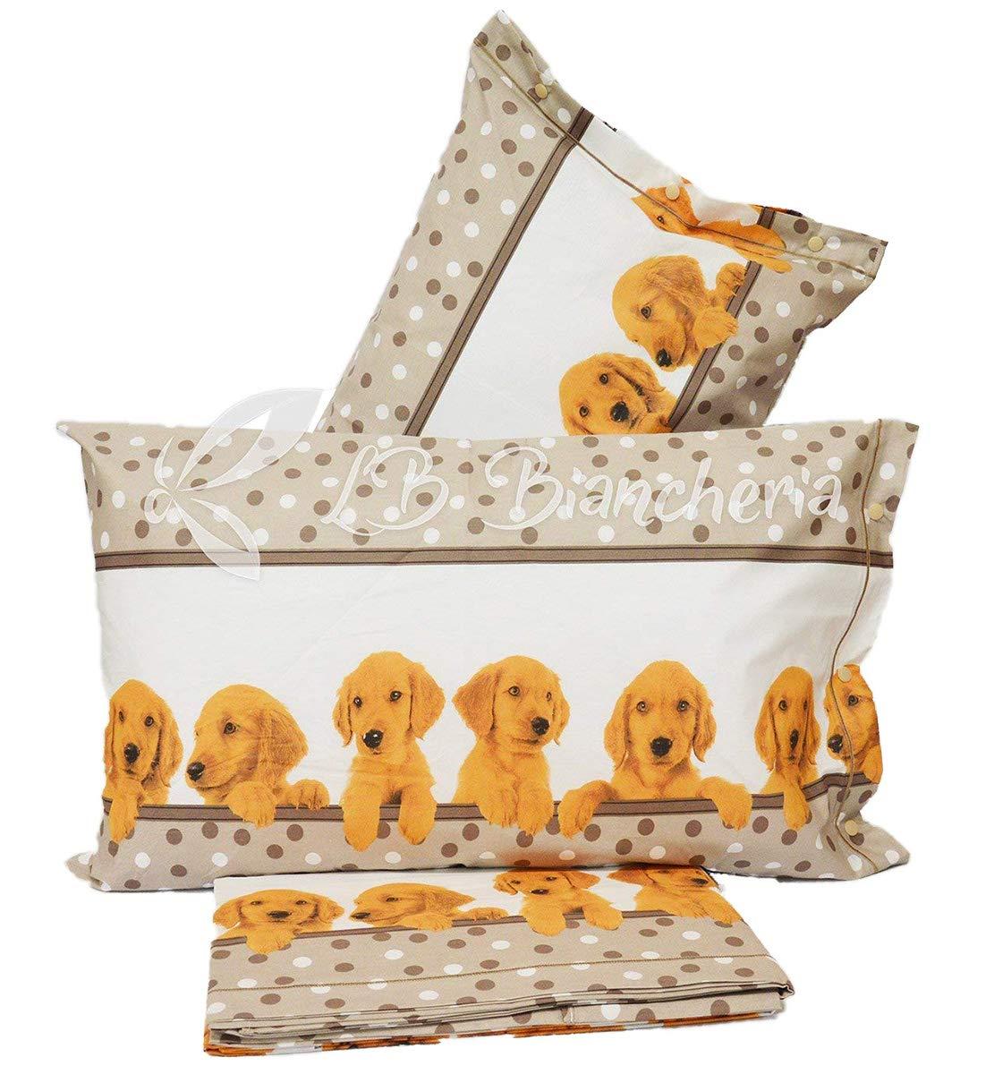 R.P. Completo Lenzuola Amici Cuccioli - Made in Italy - 100% Cotone a Trama fitta - 1 Piazza. Letto Singolo - Cani Doggy Lbbiancheria