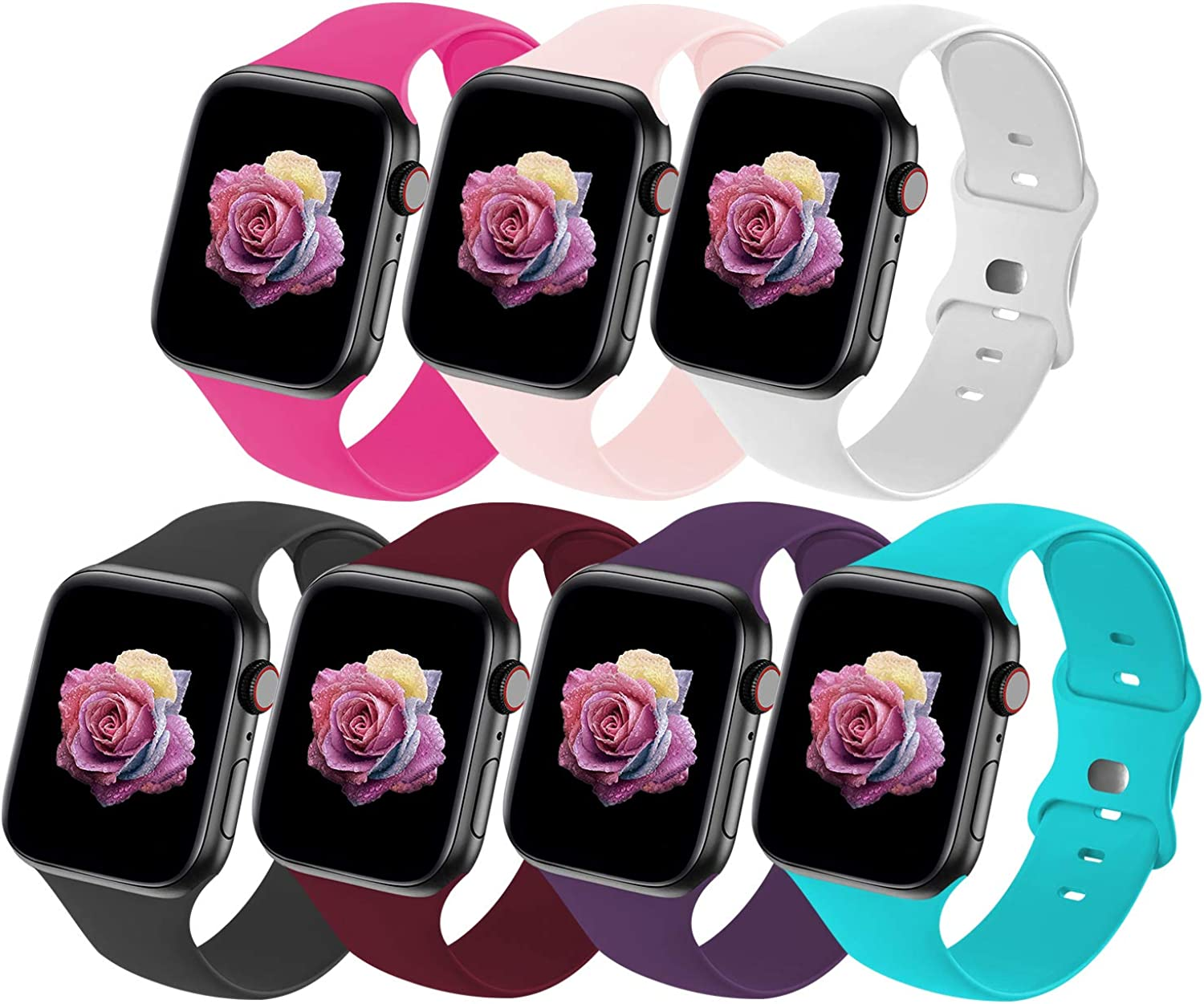 Crefort Sport Band Compatible with Apple Watch Bands 38mm 40mm 42mm 44mm for Women Men,Soft Silicone Replacement Strap Accessory Compatible for iWatch Wristbands Series 6 3 5 SE 4 2 1 S/M M/L Packs