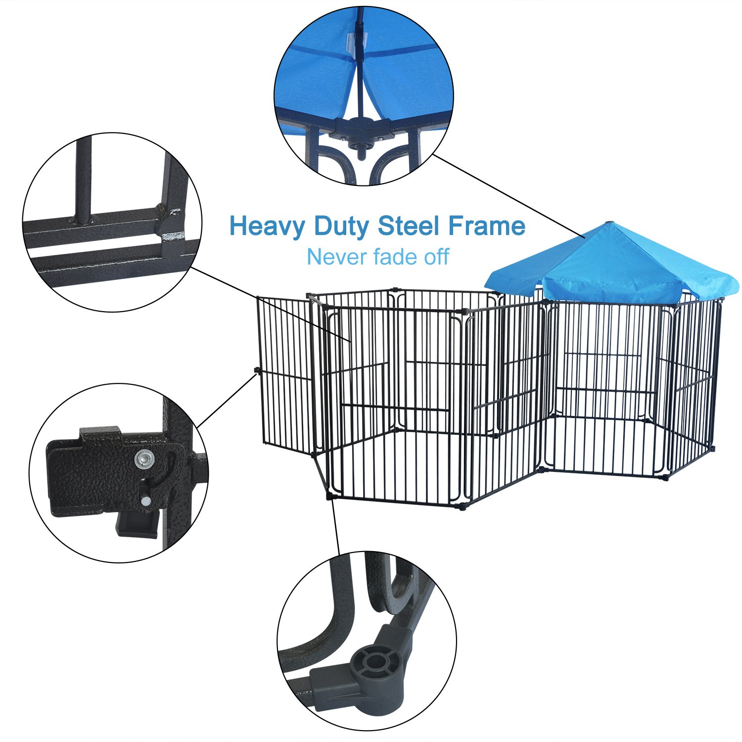 48//60 inches Pet Dog Exercise Playpen Foldable Dog Steel Crate Wire Metal Cage 6//10 Panels LEMKA Heavy Duty Dog Playpen Dog Kennel