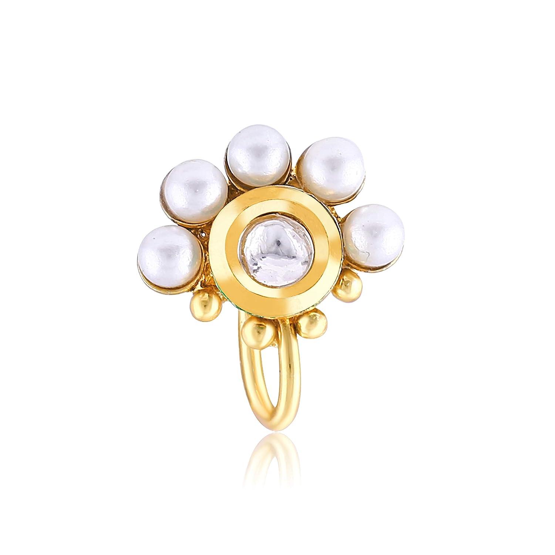 Meenaz Maharashtrian Traditional Pearl Diamond Jewellery Nose Pin