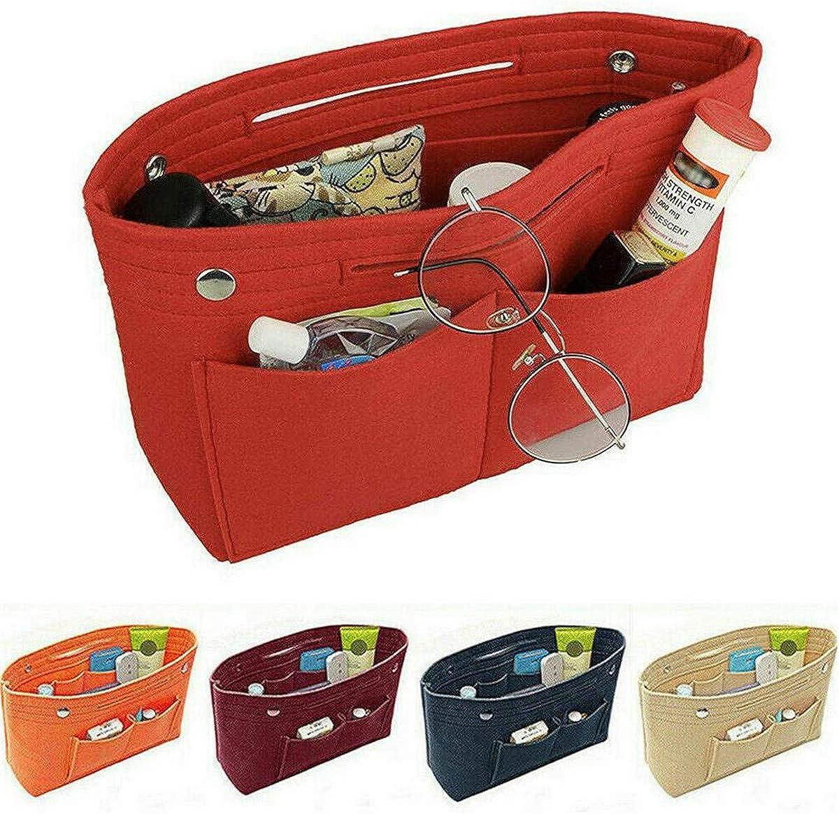 Multi Pocket Organizer Handbag Felt Bag Insert Liner Makeup Organiser Pouch Girl