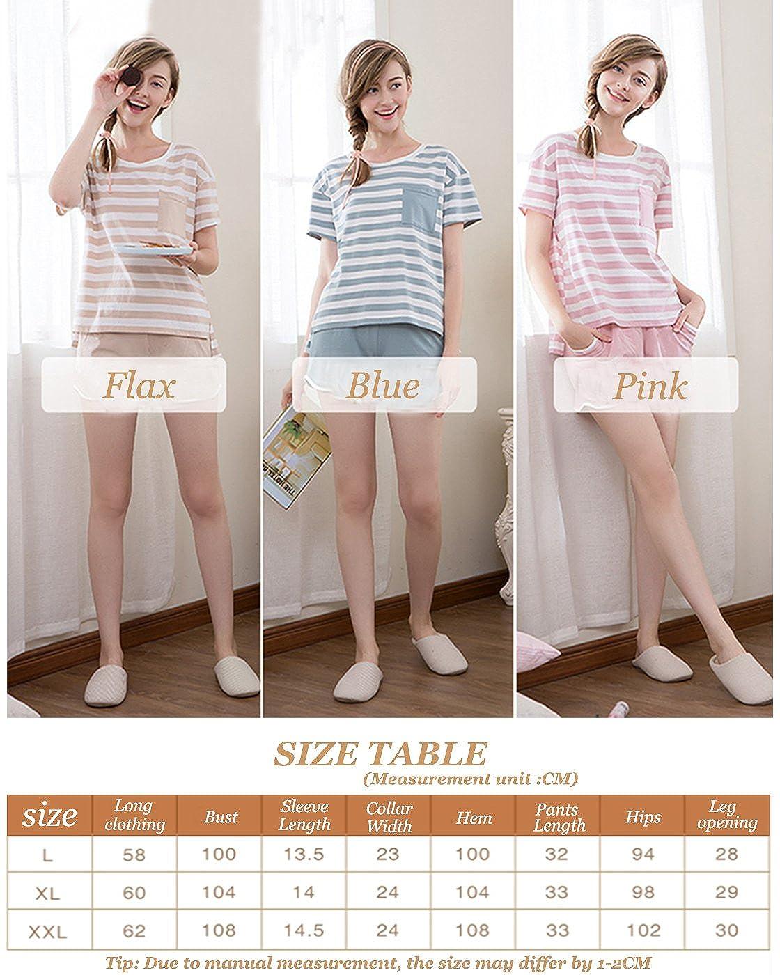 Sunshine Chow Pijamas de algodón de Pijamas cómodas de Mujer de Moda Conjunto Corto Pijama: Amazon.es: Ropa y accesorios