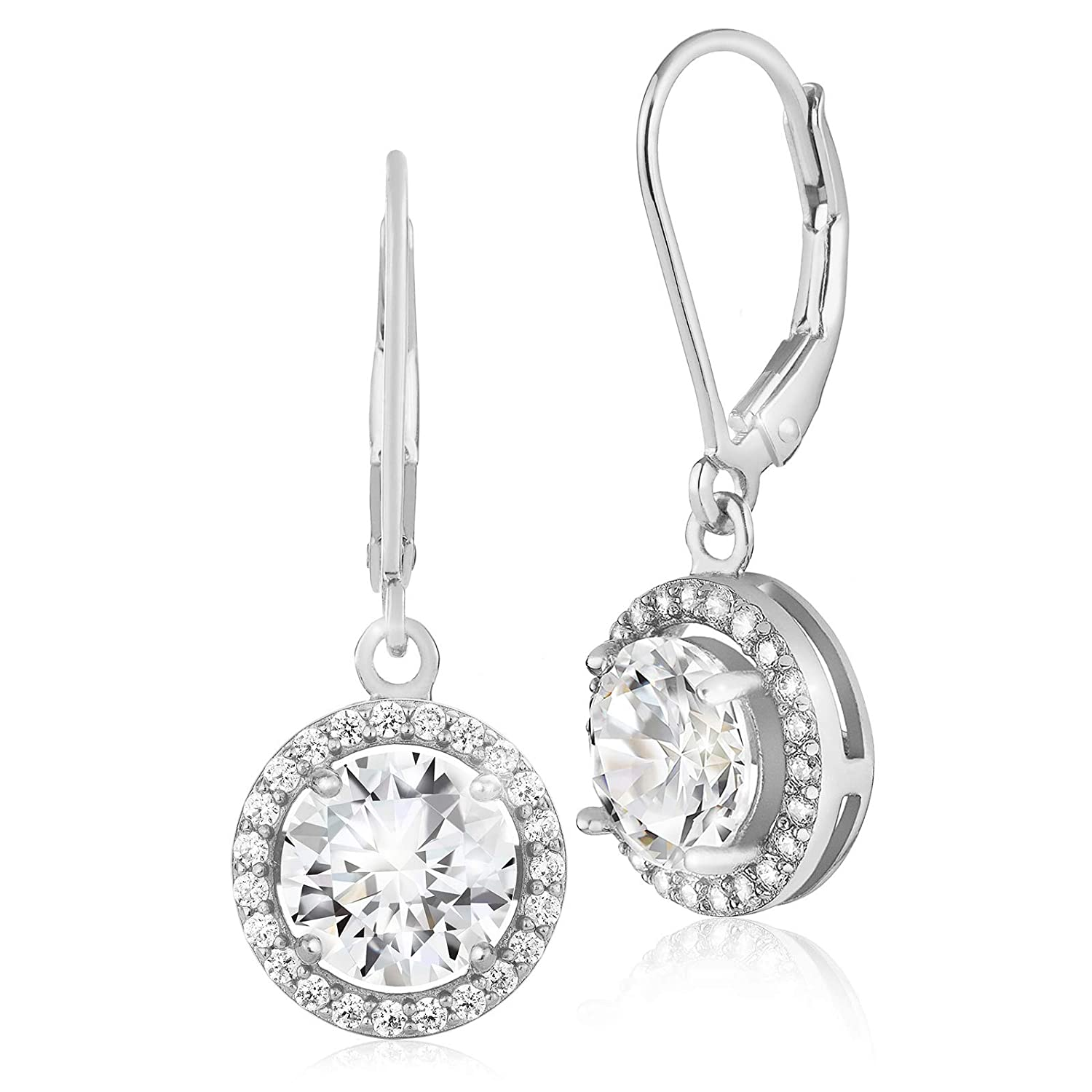448ed861e Amazon.com: Lusoro 925 Sterling Silver Round AAA Cubic Zirconia Halo  Leverback Dangle Earrings: Jewelry