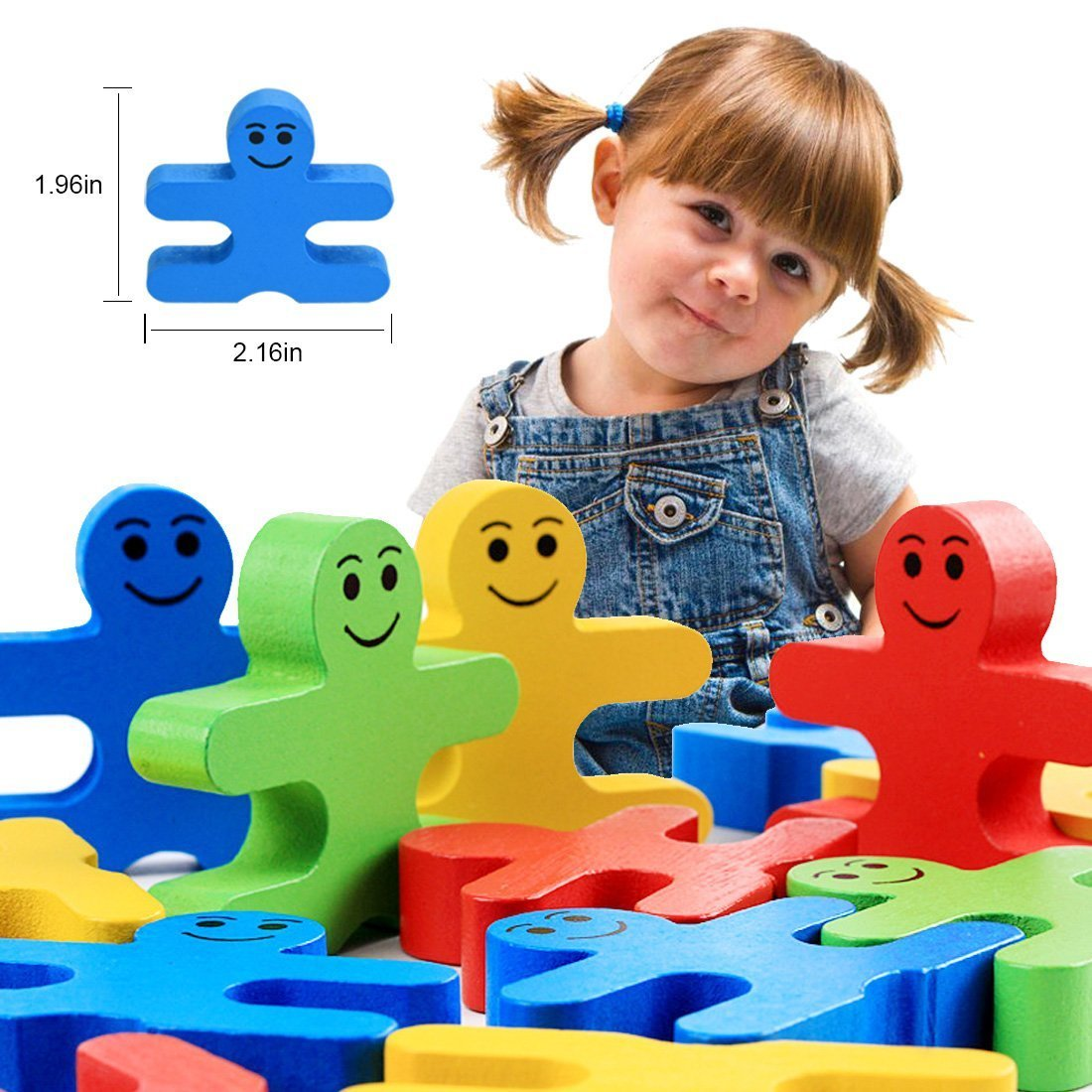 Agirlgle Wood Building Blocks Stacking Game Toys for Kids Children Toddlers Preschool Boys and Girls Learning Educational Toys 3D Wooden Assembled Toys Tile Balance Block Game 4 Color,16 Pieces