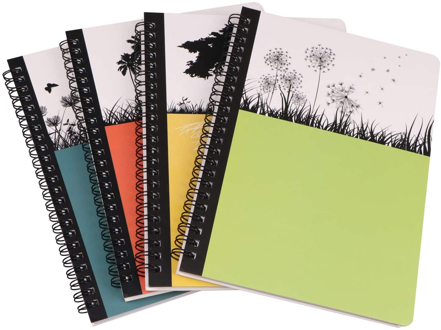 4 Packs Small Spiral Hardcover Bound Notebooks Dream Tree Notebooks For Diary Journal Writing Standard College Ruled Notebooks For School 5.5 x 8.3 inch 80 Sheets