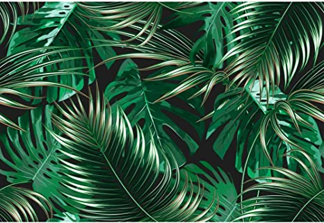 9x16 FT Palm Leaf Vinyl Photography Background Backdrops,Jungle Rainforest Pattern Hand Drawn Green Foliage Background for Photo Backdrop Studio Props Photo Backdrop Wall