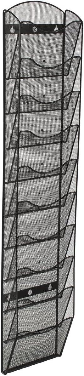 Wall Mount Literature Rack, File Folder Organizer, 10 Dividable Pockets (Black Steel Mesh)