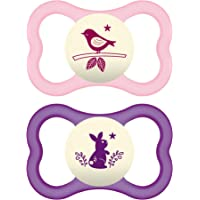 MAM Glow In the Dark Sensitive Skin Pacifiers, Baby Pacifier 6+ Months, Best Pacifier for Breastfed Babies, 'Air Night' Design Collection, Girl 2-Count