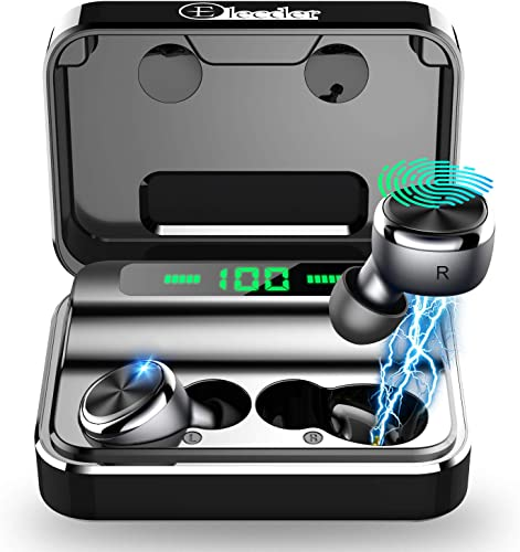 ELECDER D15 True Wireless Earbuds Bluetooth 5.0 Noise Canceling CVC8.0 Headphones in Ear, LED Battery Digital Display, Charging Case for Workout, Running Black