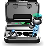 ELECDER D15 True Wireless Earbuds Bluetooth 5.0 Noise Canceling CVC8.0 Headphones in Ear, LED Battery Digital Display, Charging Case for Workout, Running (Black)
