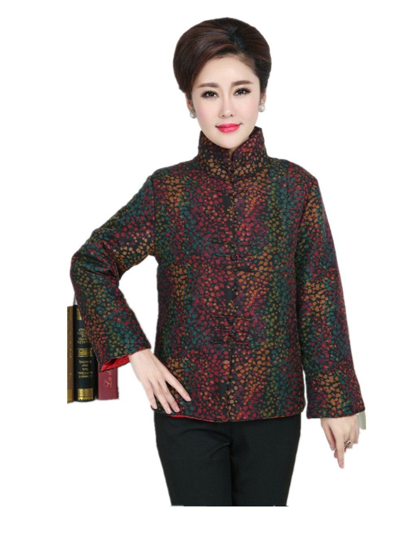 100% Mulberry Silk (water gauze technics) Womens Tang Suits Cotton-padded Jackets Coats Womens Jackets Business Jackets Full Dress Formal Dress Winter Dress (Purple)