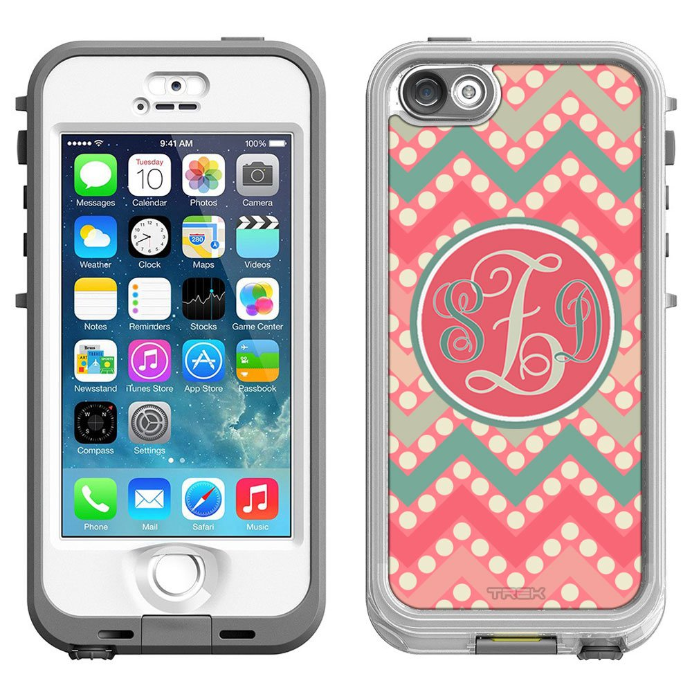 Amazon com skin decal monogram for lifeproof nuud apple iphone 5 and 5s case chevron peach green red on dots cell phones accessories