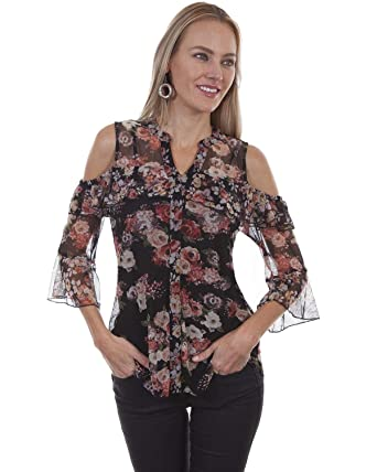 9c263303212f05 Scully Women s Honey Creek by Floral Cold Shoulder Cami at Amazon Women s  Clothing store