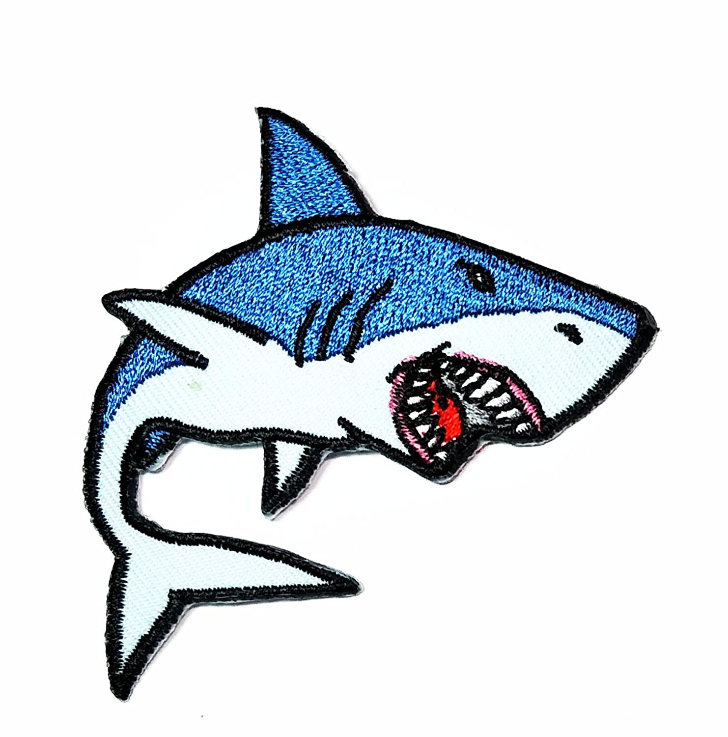 HHO The Shark Blue Shark Cartoon kid patch Embroidered DIY Patches, Cute Applique Sew Iron on Kids Craft Patch for Bags Jackets Jeans Clothes