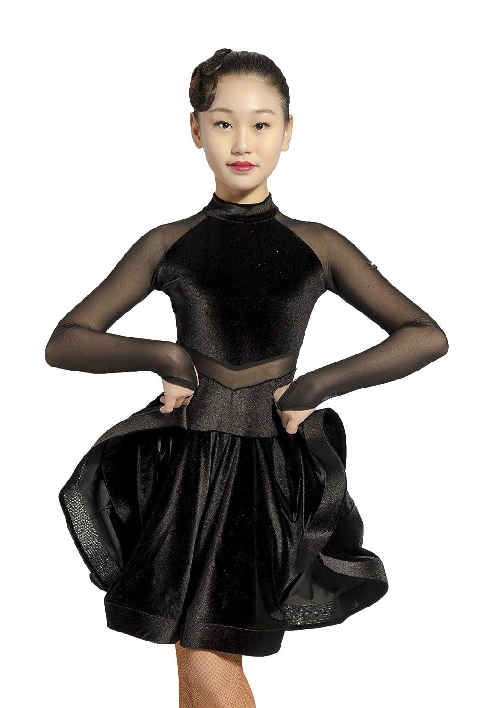 GD3102 女の子(子供) 専門通用のされるラテンダンス モダンダンス 社交ダンス 少年(女子学生) ワンピース ドレス (ネット糸継ぎ設計) B07NYF951J 120|(SBS)black (SBS)black 120