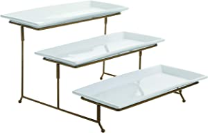 3 Tier Rectangular Serving Platter, Three Tiered Cake Tray Stand, Food Server Display Plate Rack, Gold Wire (Gold)