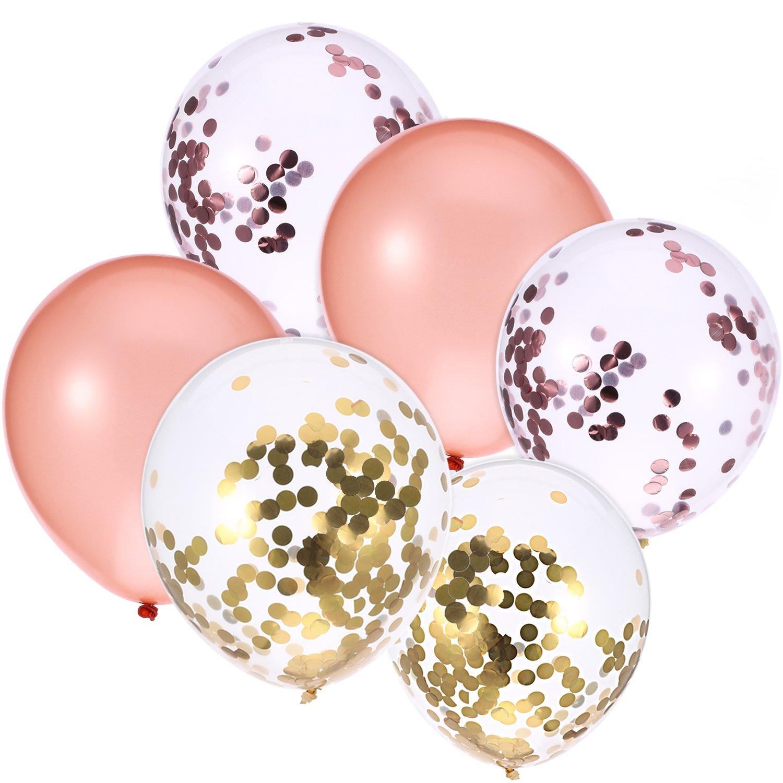 36 Pezzi 12 Pollici Palloncini Oro Rosa, Oro, Oro Rosa Palloncino di Coriandoli per Fornitura di Matrimonio Compleanno Festa Jovitec