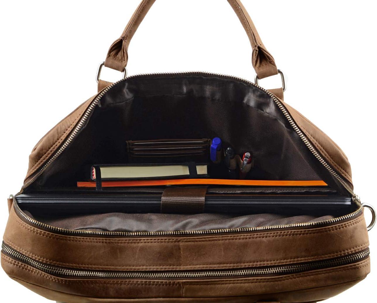 Antique FEYNST Leder Aktentasche Umh/ängetasche 15,6 Zoll Laptoptasche Notebooktasche Herren Damen