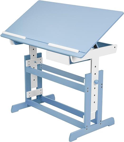 TecTake Escritorio Infantil 109 x 55 cm reguable en Altura (Azul ...