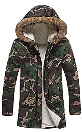 CELINO Men s Faux Fur Lined Long Hooded Coat Winter Jacket Camouflage Army  Style 12db6298809f
