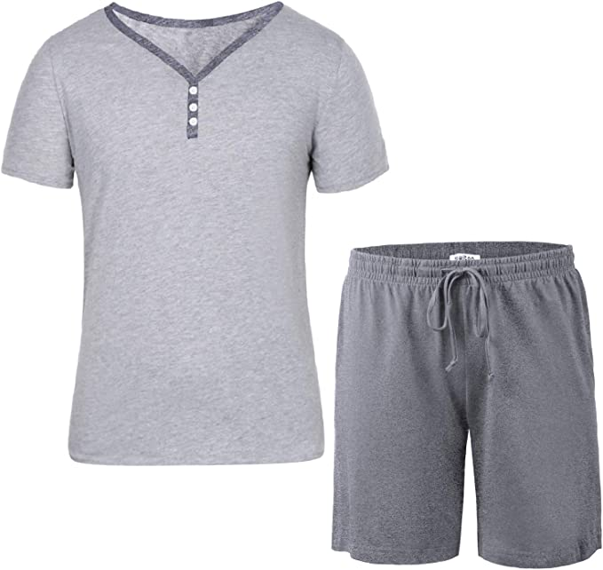 Mens Pyjama  Set Short Sleeve Top Pants Summer Pjs cotton mix PYJAMAS