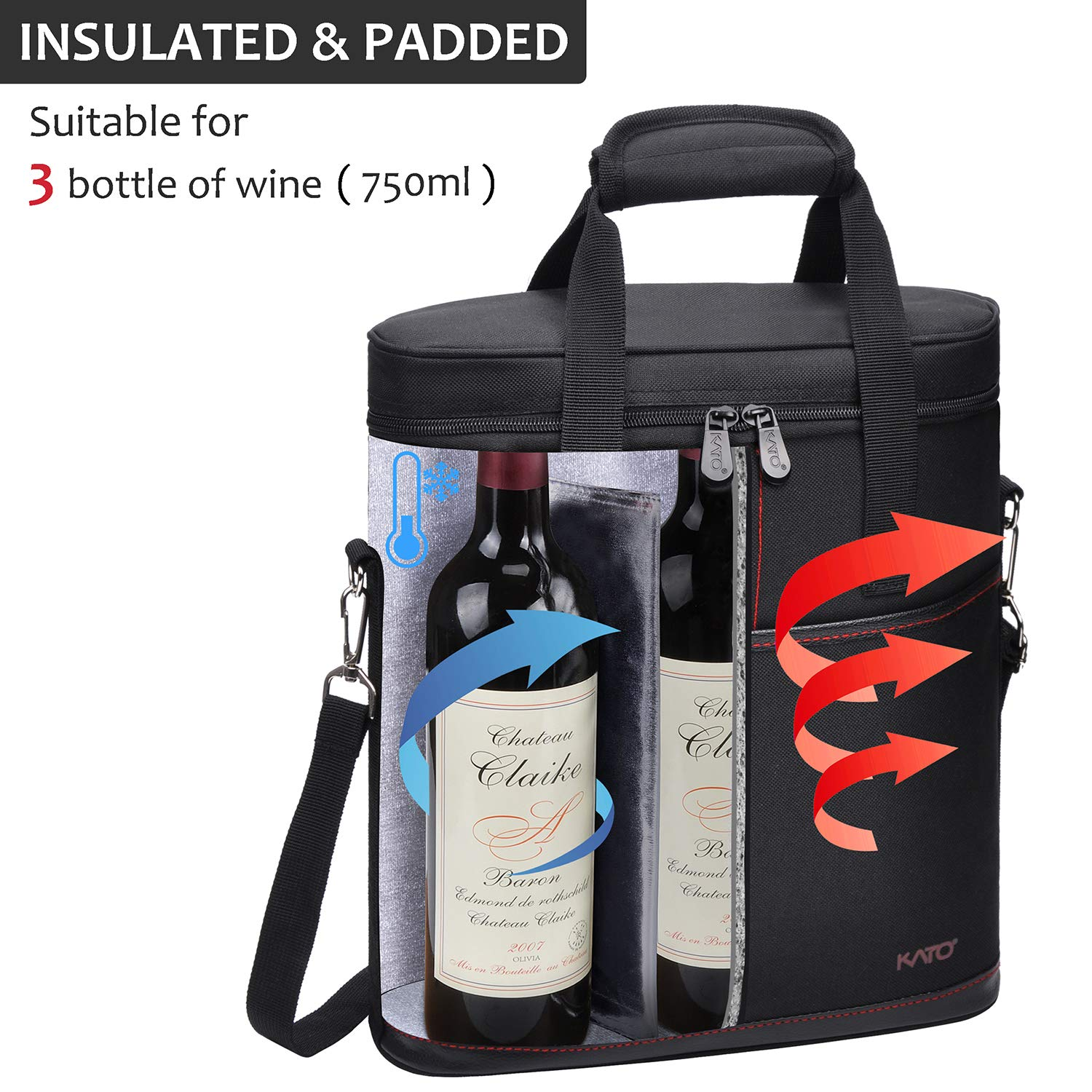 Tirrinia Insulated Wine Carrier - 3 Bottle Travel Padded Wine Carry Cooler Tote Bag with Handle and Adjustable Shoulder Strap + Free Corkscrew, Black by Tirrinia (Image #2)