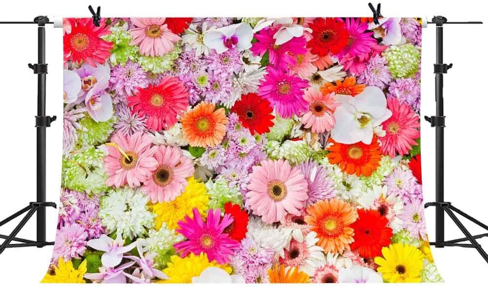 MME Backdrop 10X7ft Multicolored Flowers Background Wedding Party Romantic Photography Seamless Vinyl Photo Studio Props NANME509