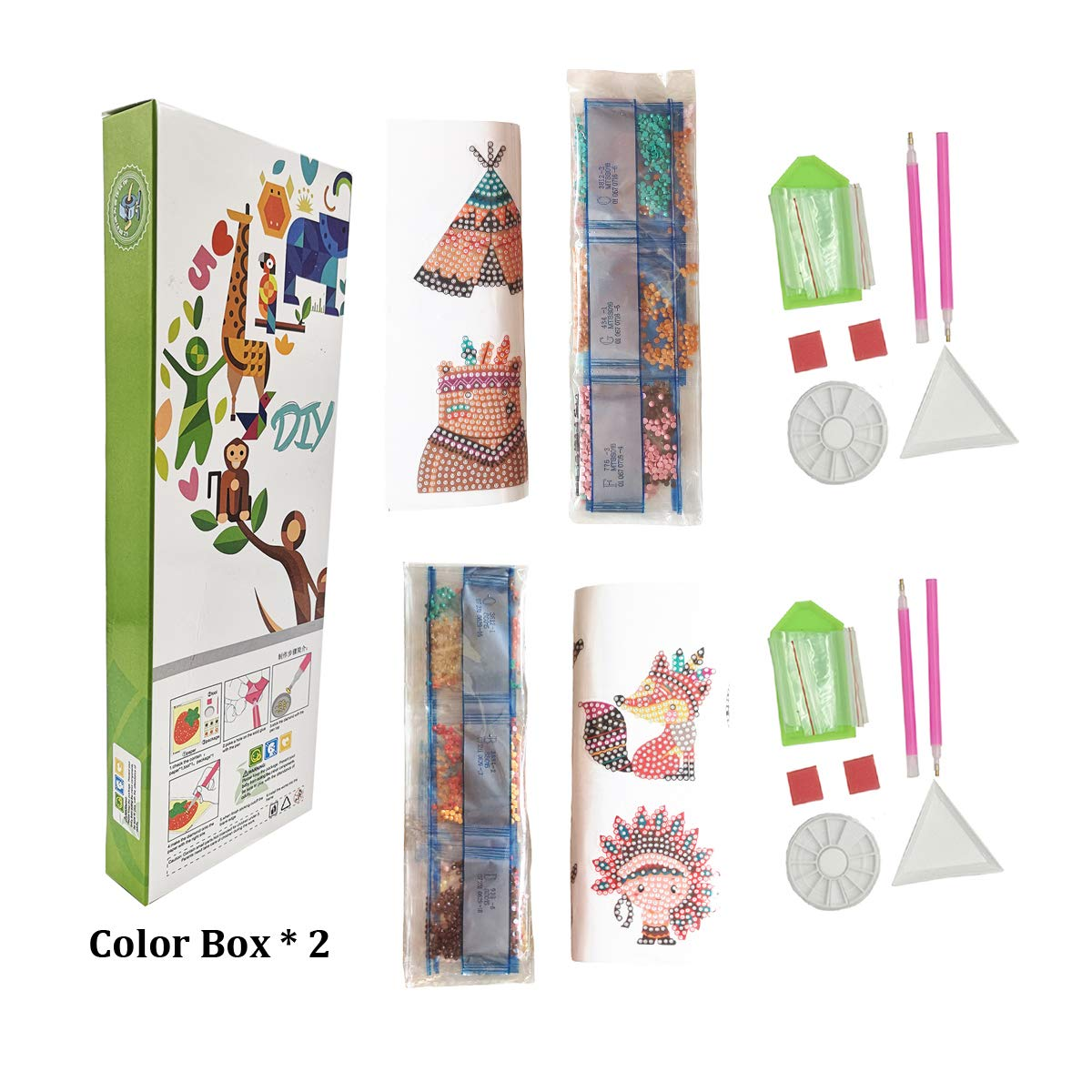 HOMERDAIRY Diamond Painting Stickers Kits for Kids and Adult Beginners Diamond Mosaic Paint by Numbers Mixed Kits